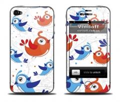 """Наклейка на iPhone """"Влюбленные птички"""""""