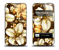 "Наклейка на iPhone ""Brown flowers"""