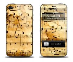 """Наклейка на iPhone """"Старинные ноты"""""""