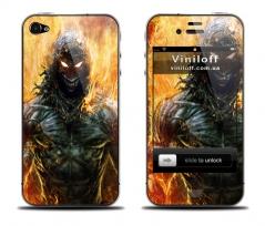 """Наклейка на iPhone """"Огненный воин"""""""