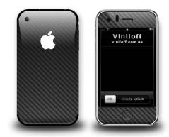 Карбоновая наклейка на iphone 3Gs, 3G (Черная)