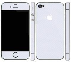 Карбоновая наклейка на iPhone 4, 4S (Белая)