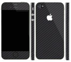 Карбоновая наклейка на iPhone 4, 4S (Черная)
