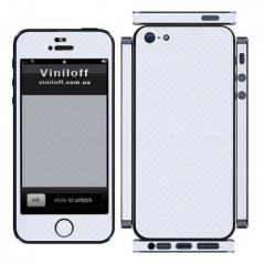 Карбоновая наклейка на iPhone 5 (Белая)