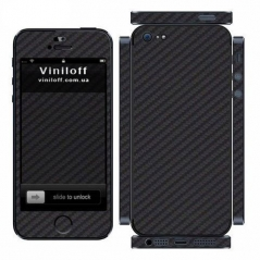 Карбоновая наклейка на iPhone 5 (Черная)