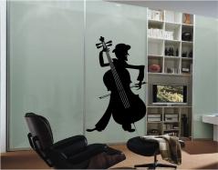 """Наклейка на шкаф """"Уличный музыкант"""""""