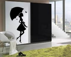 """Наклейка на шкаф """"Девушка с зонтом"""""""